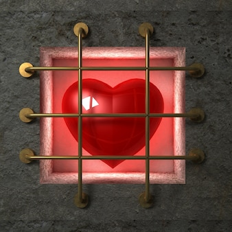 Red glossy heart behind gold bars in the concrete wall.