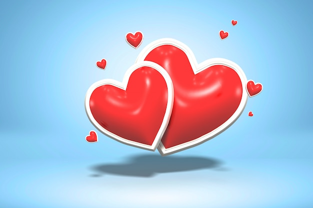 Red glossy love shiny shape hearts on blue background