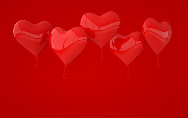 Красные глянцевые блестящие шары в форме сердца.