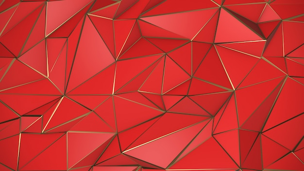 Red and gold abstract low poly triangle background