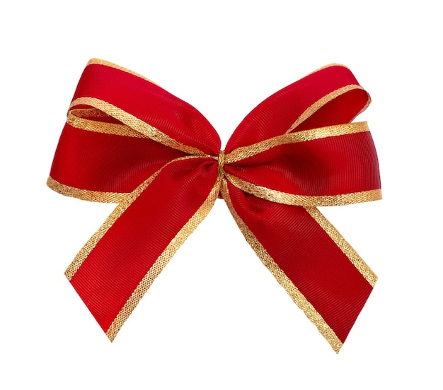 Red and gold bow isolated