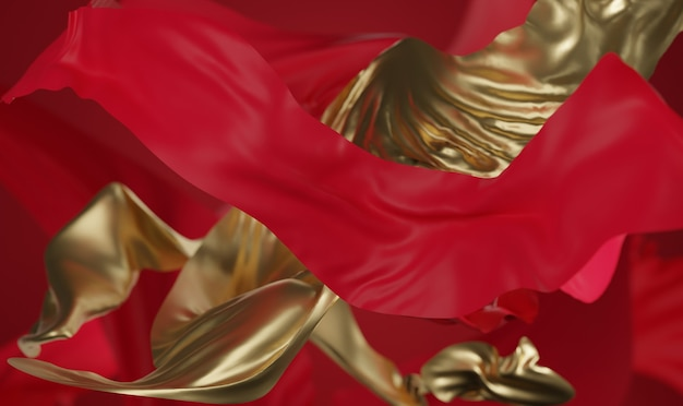 Red and gold chinese background 3d rendering