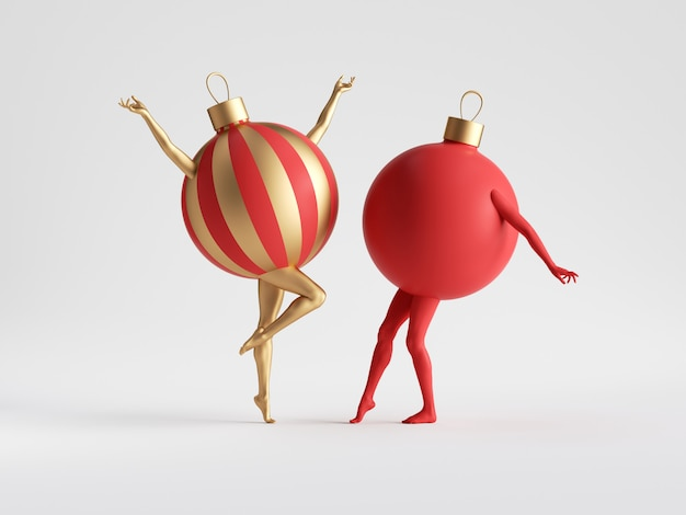 Red and gold christmas ball mannequin legs dance