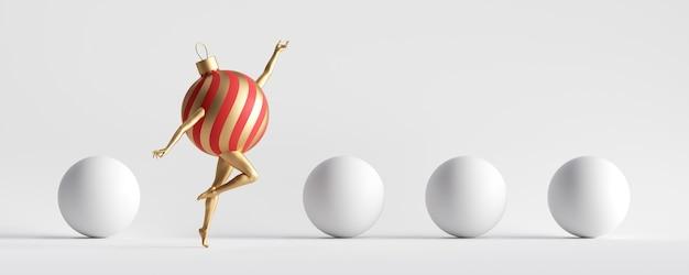 Красное золото елочный шар орнамент мультипликационный персонаж с ногами прыгает