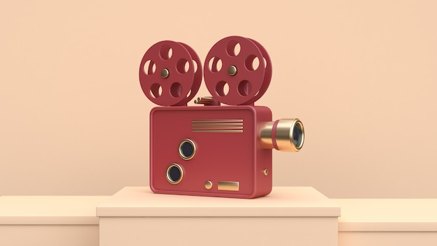 Red gold cinema projector cream scene 3d render technology concept