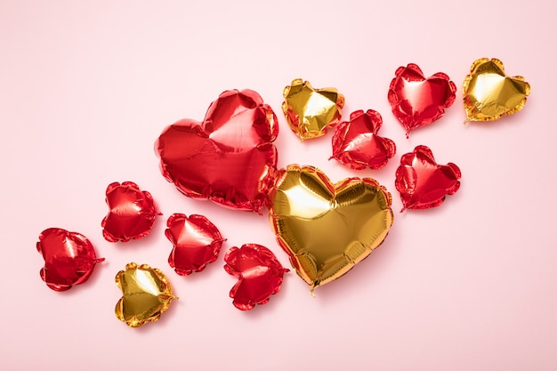 Red and gold foil balloons for valentine's day holiday