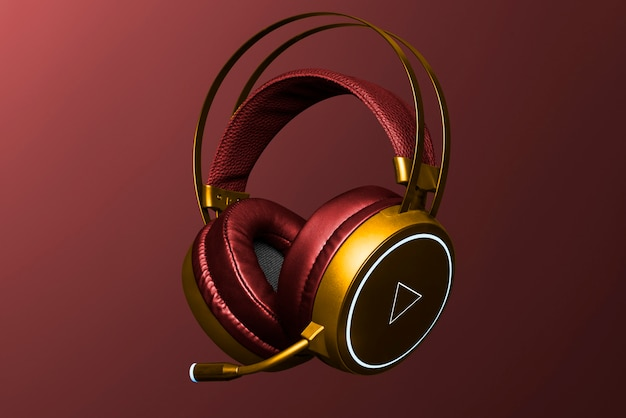 Red and gold headphones digital device