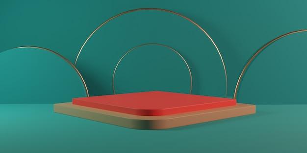 緑のパステルカラーの部屋に円筒形の赤い金の正方形の表彰台