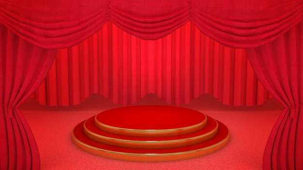 Red and gold stage on red theatre curtain background, 3d rendering.