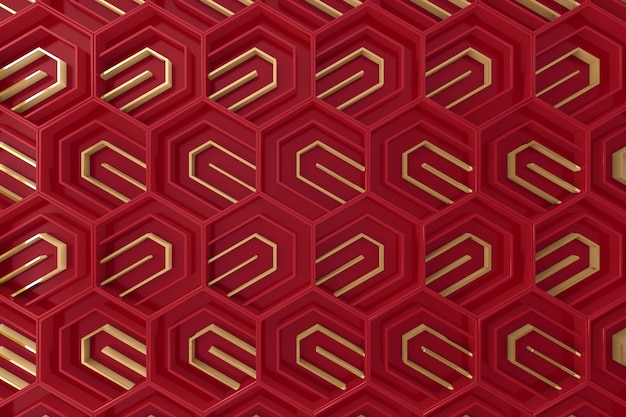 Red and gold tridimensional background