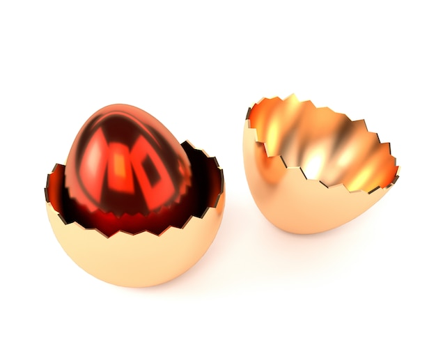 Red golden egg in the egg shell isolated on white background.