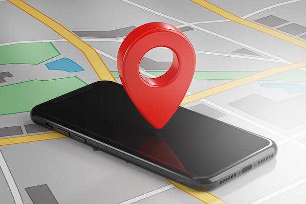 Красный штырь gps на смартфоне и карте. 3d визуализация