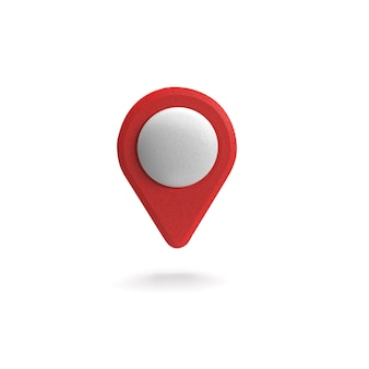 Red gps pointer. red map pointer. isolated. three-dimensional rendering. 3d render illustration.