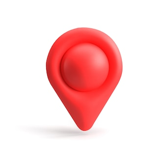 Red gps pointer. red map pointer. isolated. three-dimensional rendering. 3d render.