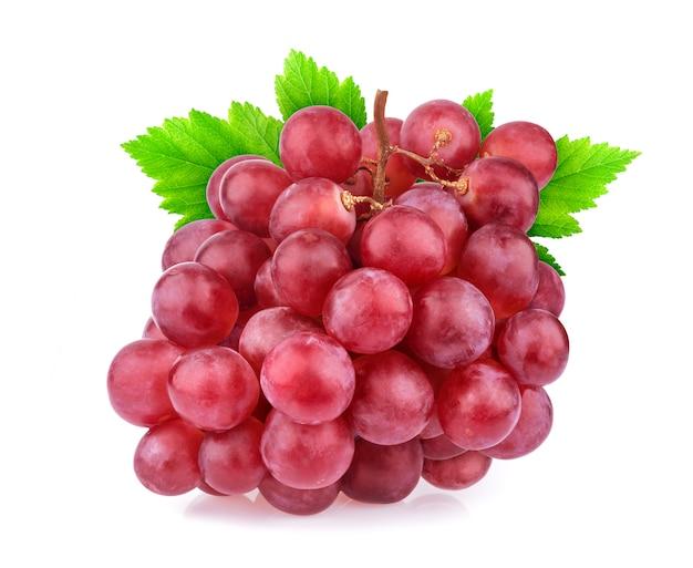 白で隔離赤いブドウ