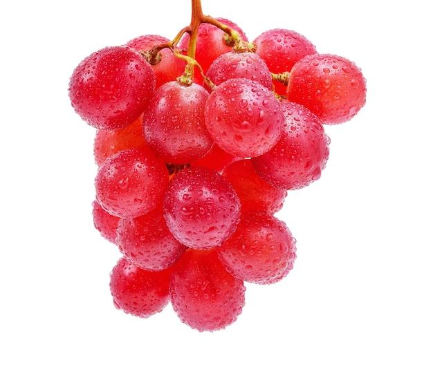 赤ブドウと白い背景で隔離の水滴