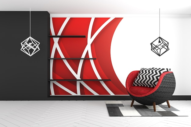 Red graphic wall background, with red armchair and carpet and lamps modern style