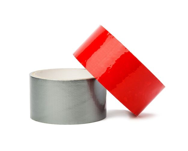 Red and gray scotch tape isolated on white background, close up