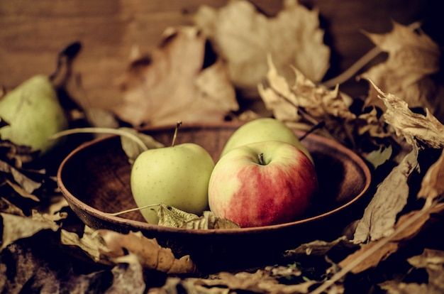 Red and green apples in bowl
