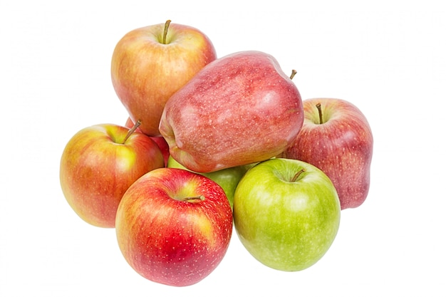Red and green apples close up isolated