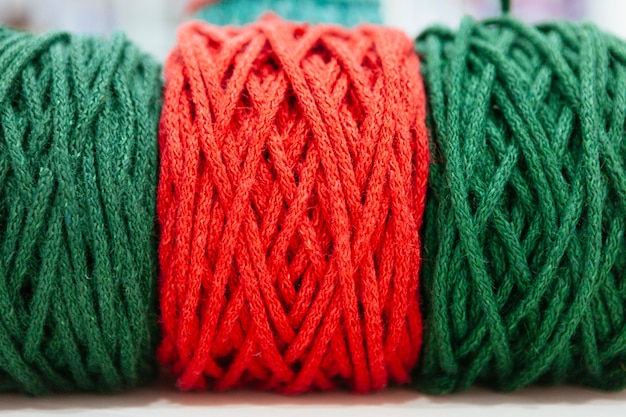 Red and green christmas wool of yarns
