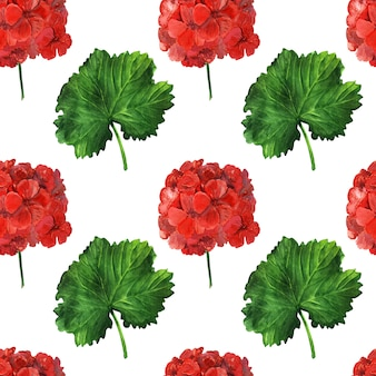 Red and green flower seamless pattern