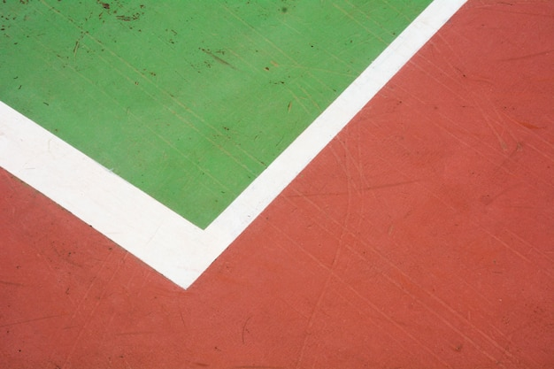 Red and green tennis court - closeup