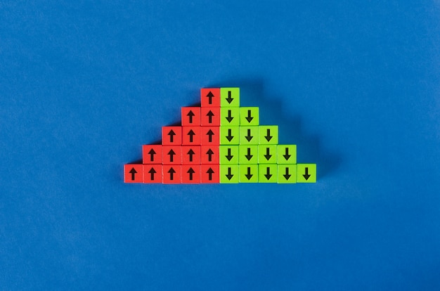 Red and green wooden blocks with arrows pointing up and down in a concept of growing and shrinking corona virus cases