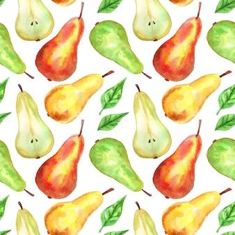 赤、緑、黄色の梨。シームレスパターン。手描きの水彩イラスト。印刷、ファブリック、テキスタイル、壁紙のテクスチャ。