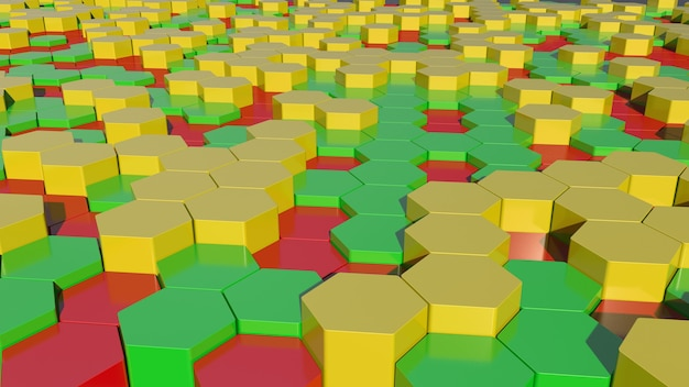 Red, green and yellow polygons background 3d rendering