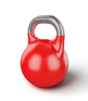 Red gym kettle bell isolated