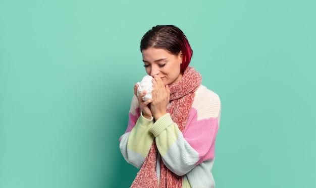 빨간 머리 멋진 아픈 여자. 독감 또는 기침 개념