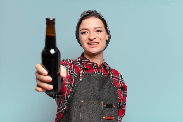 Red hair cool woman with a beer botle
