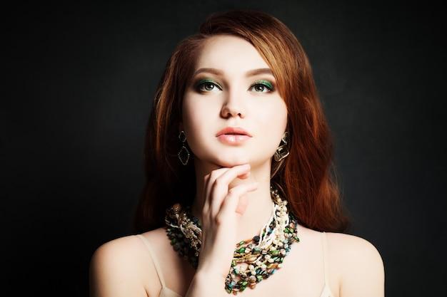Red hair woman. redhead, makeup, pretty face