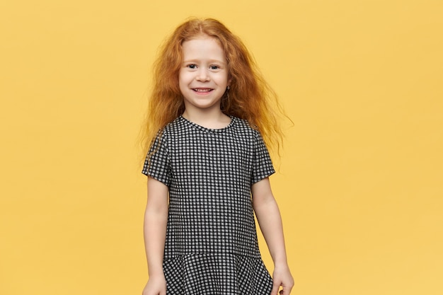 Red-haired girl with black and white dress