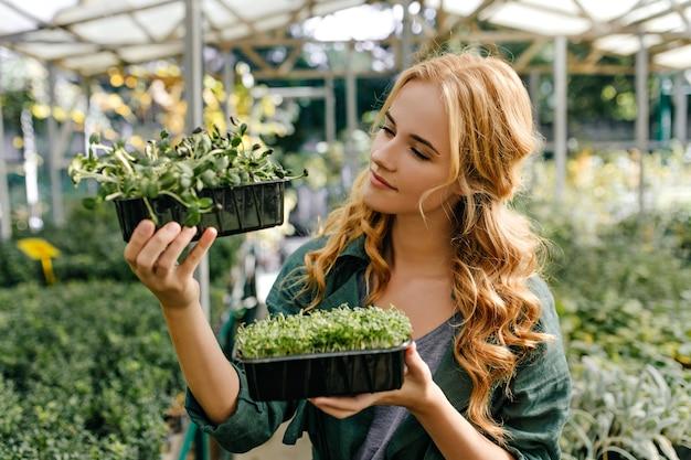 赤毛の甘い女性は、常緑の小さな植物を熱心に調べます。庭のヨーロッパの外観のモデルのクローズアップの肖像画。