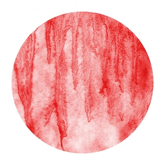 Red hand drawn watercolor circular frame background texture with stains