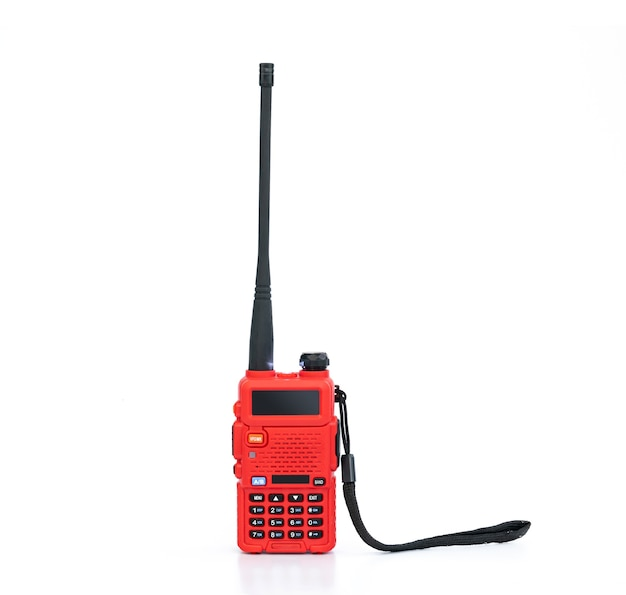 Red handheld radio transceiver isolated
