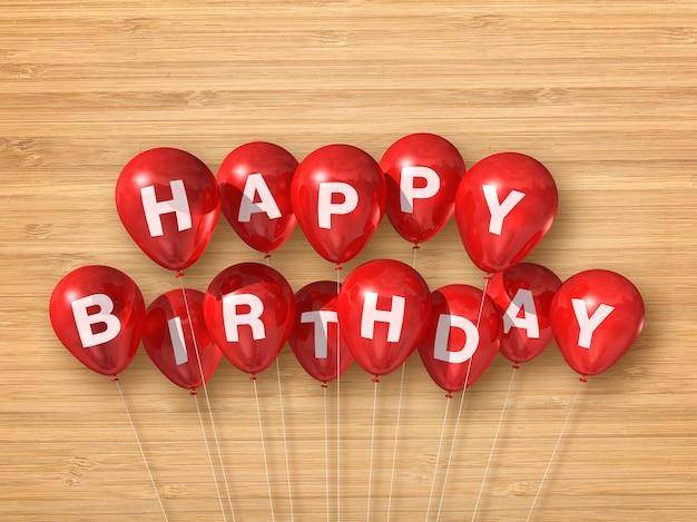 Красные воздушные шары с днем рождения на деревянных фоне. 3d визуализация иллюстрации