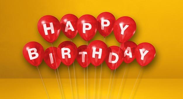 Красные воздушные шары с днем рождения на желтой сцене. горизонтальный баннер. 3d визуализация