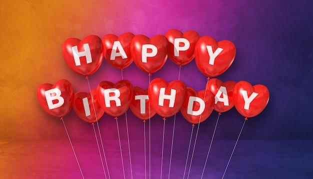 Красные с днем рождения воздушные шары в форме сердца. открытка. 3d рендеринг
