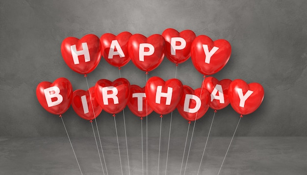 Red happy birthday heart shape air balloons on a grey background scene. horizontal banner. 3d illustration render