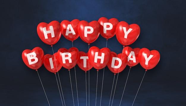 Красные с днем рождения воздушные шары в форме сердца на черном фоне сцены. горизонтальный баннер. 3d визуализация иллюстрации