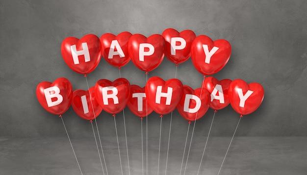 Красные с днем рождения воздушные шары в форме сердца на сером фоне сцены. горизонтальный баннер. 3d визуализация иллюстрации