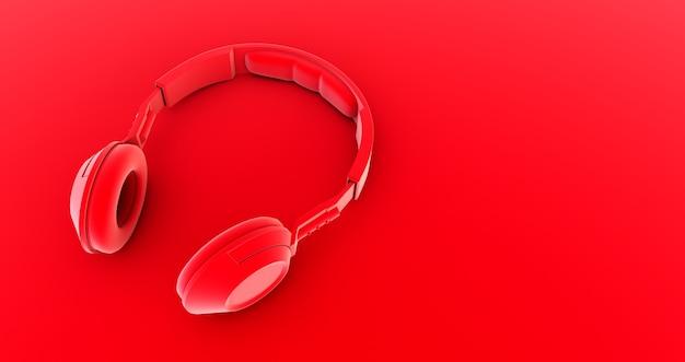 Красные наушники. музыка. 3d визуализация