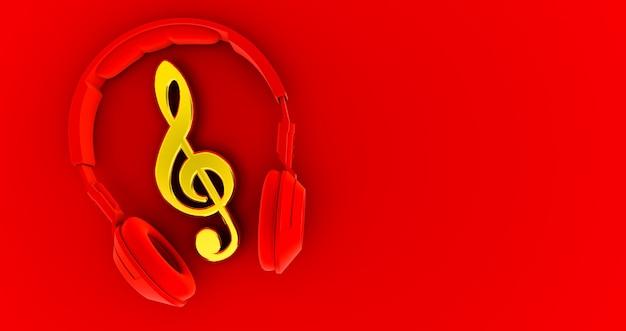 Красные наушники и золотые ноты - понятие музыки. 3d визуализация