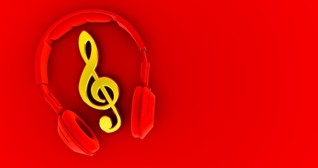 Red headphones and golden notes - concept of a music . 3d render