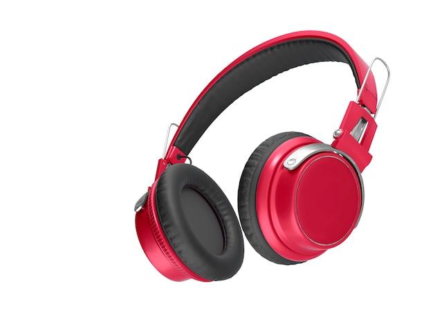 Red headphones isolated closeup