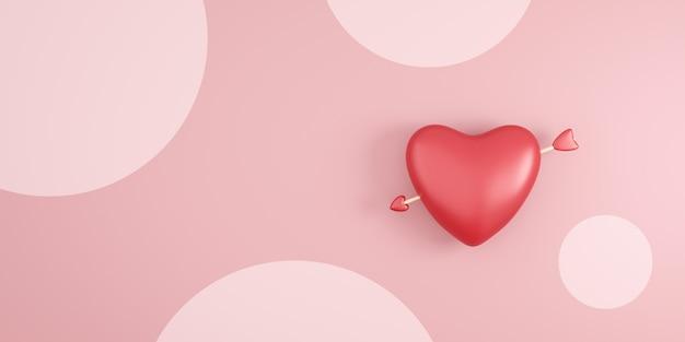 バレンタインフェスティバルでピンクの水玉の背景に赤いハートとキューピッドの矢印。ロマンチックな心
