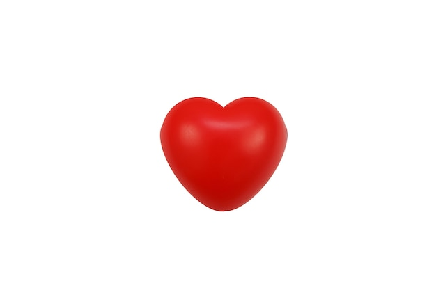 The red heart ball for valentines day isolated wallon white surface.